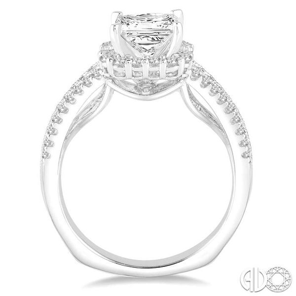 1 1/6 Ctw Diamond Engagement Ring with 5/8 Ct Princess Cut Center Stone in 14K White Gold Image 3 Robert Irwin Jewelers Memphis, TN