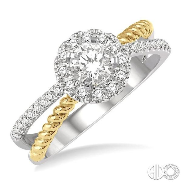 1/2 Ctw Floral Two Tone Round Cut Diamond Ladies Engagement Ring with 1/4 Ct Round Cut Center Stone in 14K White and Yellow Gold Robert Irwin Jewelers Memphis, TN