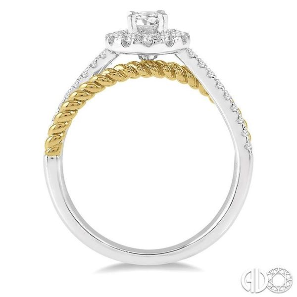 1/2 Ctw Floral Two Tone Round Cut Diamond Ladies Engagement Ring with 1/4 Ct Round Cut Center Stone in 14K White and Yellow Gold Image 3 Robert Irwin Jewelers Memphis, TN