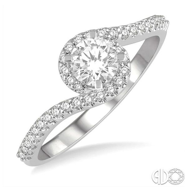 1/2 Ctw Embraced Round Cut Diamond Ladies Engagement Ring in 14K White Gold Robert Irwin Jewelers Memphis, TN