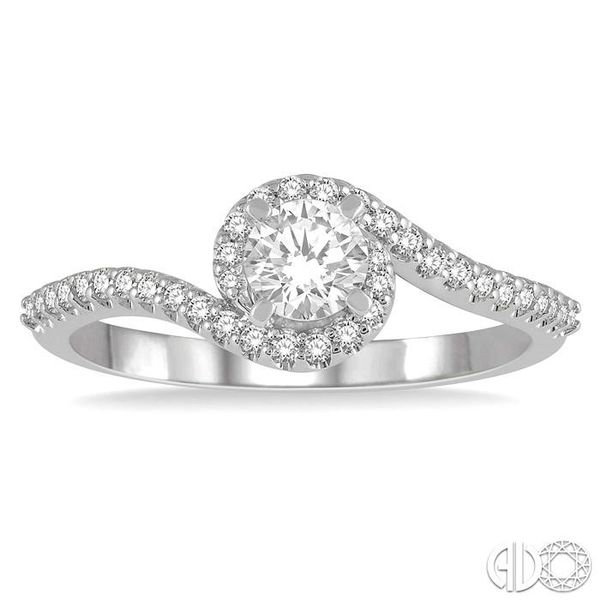 1/2 Ctw Embraced Round Cut Diamond Ladies Engagement Ring in 14K White Gold Image 2 Robert Irwin Jewelers Memphis, TN