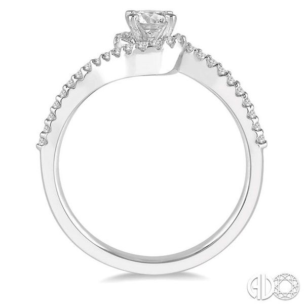 1/2 Ctw Embraced Round Cut Diamond Ladies Engagement Ring in 14K White Gold Image 3 Robert Irwin Jewelers Memphis, TN