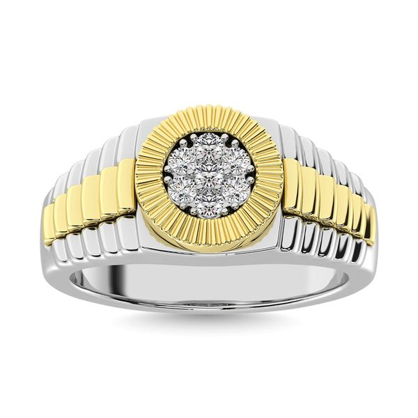 Diamond 1/4 Ct.Tw. Mens Fashion Ring in 10K Two Tone Gold Image 2 Robert Irwin Jewelers Memphis, TN