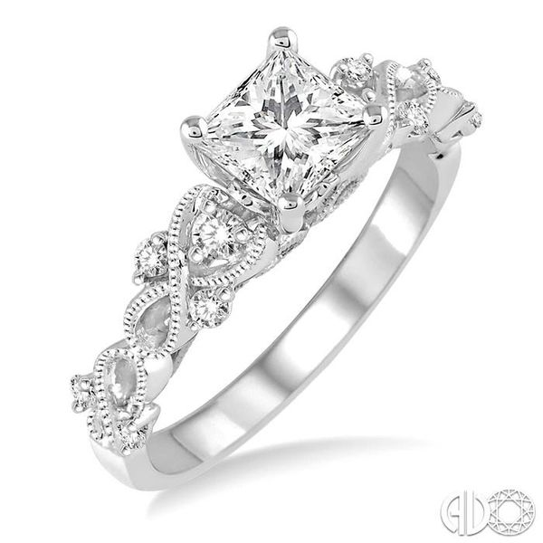 3/4 Ctw Diamond Engagement Ring with 5/8 Ct Princess Cut Center Stone in 14K White Gold Robert Irwin Jewelers Memphis, TN