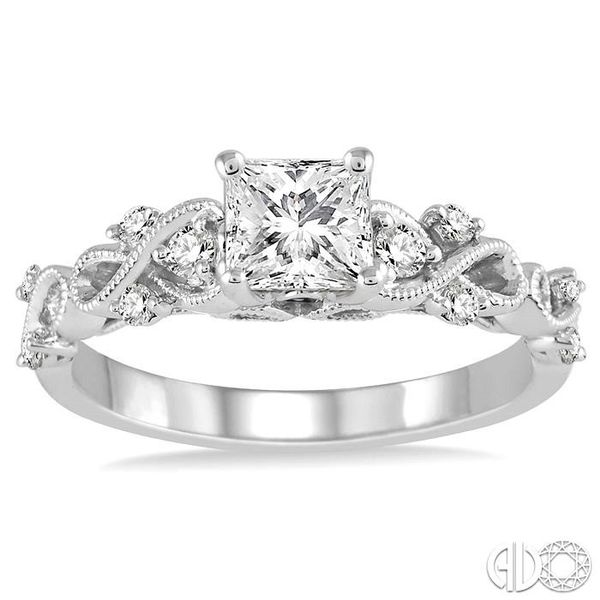 3/4 Ctw Diamond Engagement Ring with 5/8 Ct Princess Cut Center Stone in 14K White Gold Image 2 Robert Irwin Jewelers Memphis, TN