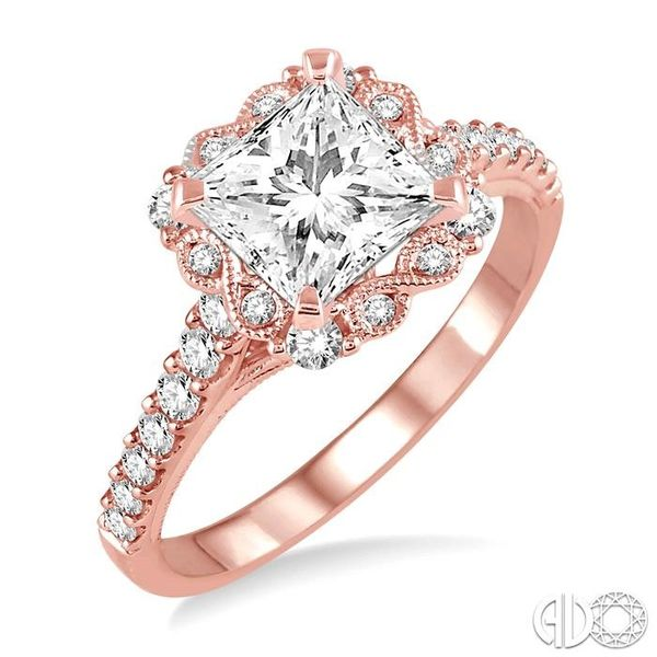 7/8 Ctw Diamond Engagement Ring with 1/2 Ct Princess Cut Center Stone in 14K Rose Gold Robert Irwin Jewelers Memphis, TN