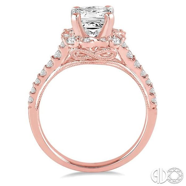 7/8 Ctw Diamond Engagement Ring with 1/2 Ct Princess Cut Center Stone in 14K Rose Gold Image 3 Robert Irwin Jewelers Memphis, TN