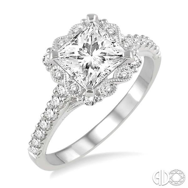 7/8 Ctw Diamond Engagement Ring with 1/2 Ct Princess Cut Center Stone in 14K White Gold Robert Irwin Jewelers Memphis, TN