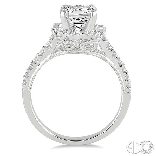 7/8 Ctw Diamond Engagement Ring with 1/2 Ct Princess Cut Center Stone in 14K White Gold Image 3 Robert Irwin Jewelers Memphis, TN