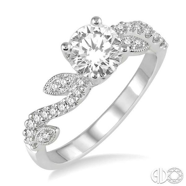 7/8 Ctw Diamond Engagement Ring with 5/8 Ct Round Cut Center Stone in 14K White Gold Robert Irwin Jewelers Memphis, TN