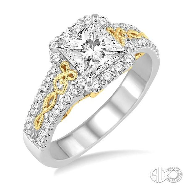 1 Ctw Diamond Engagement Ring with 1/2 Ct Princess Cut Center Stone in 14K White and Yellow Gold Robert Irwin Jewelers Memphis, TN