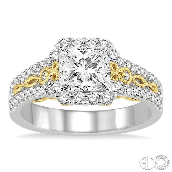 1 Ctw Diamond Engagement Ring with 1/2 Ct Princess Cut Center Stone in 14K White and Yellow Gold Image 2 Robert Irwin Jewelers Memphis, TN