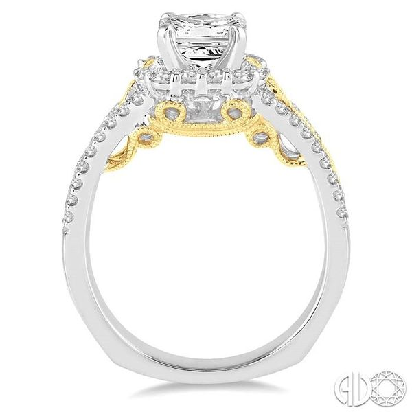 1 Ctw Diamond Engagement Ring with 1/2 Ct Princess Cut Center Stone in 14K White and Yellow Gold Image 3 Robert Irwin Jewelers Memphis, TN