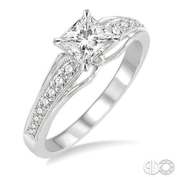 5/8 Ctw Diamond Engagement Ring with 3/8 Ct Princess Cut Center Stone in 14K White Gold Robert Irwin Jewelers Memphis, TN