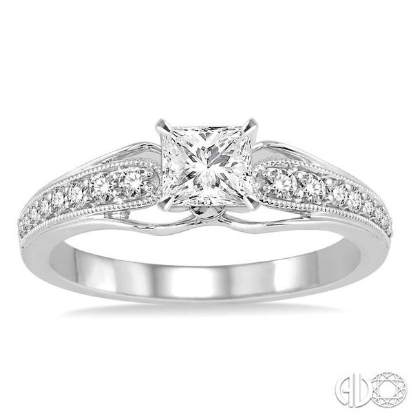 5/8 Ctw Diamond Engagement Ring with 3/8 Ct Princess Cut Center Stone in 14K White Gold Image 2 Robert Irwin Jewelers Memphis, TN