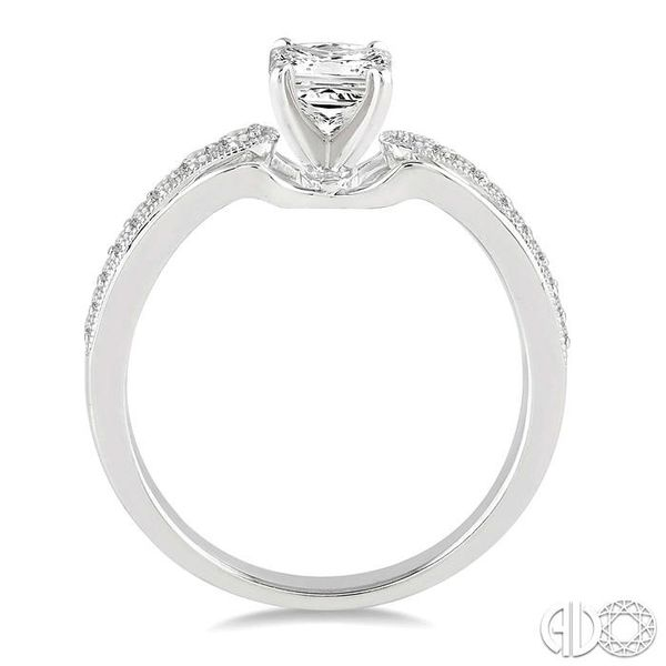 5/8 Ctw Diamond Engagement Ring with 3/8 Ct Princess Cut Center Stone in 14K White Gold Image 3 Robert Irwin Jewelers Memphis, TN