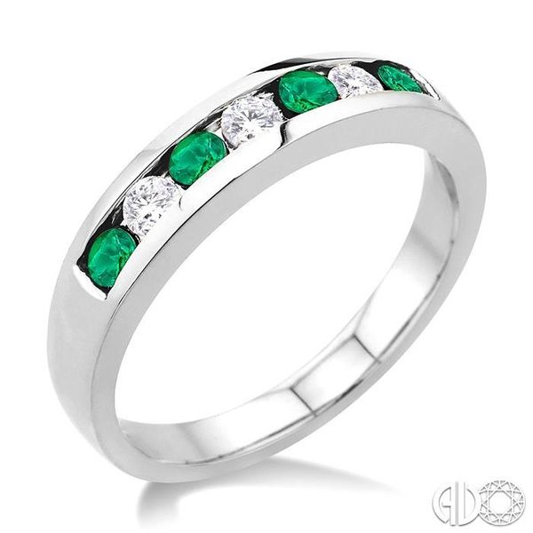 1/5 Ctw Channel Set Round Cut Diamond and 2.5 MM Round Cut Emerald Band in 14K White Gold Robert Irwin Jewelers Memphis, TN