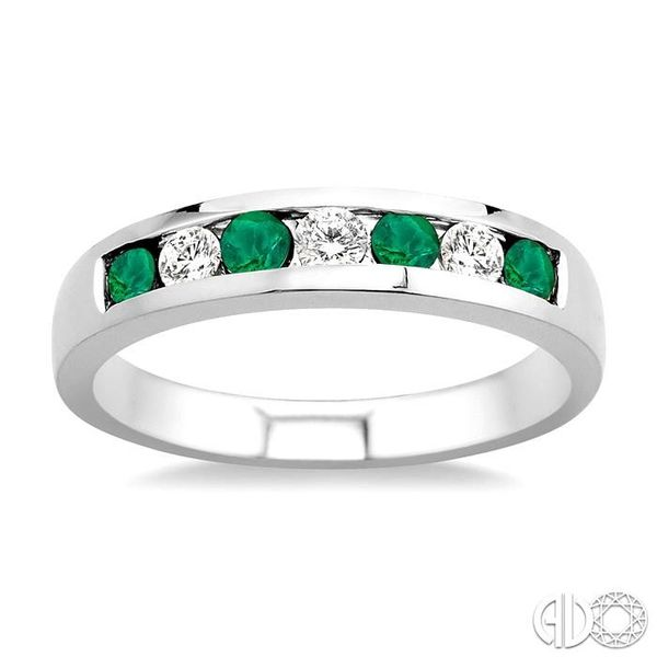 1/5 Ctw Channel Set Round Cut Diamond and 2.5 MM Round Cut Emerald Band in 14K White Gold Image 2 Robert Irwin Jewelers Memphis, TN