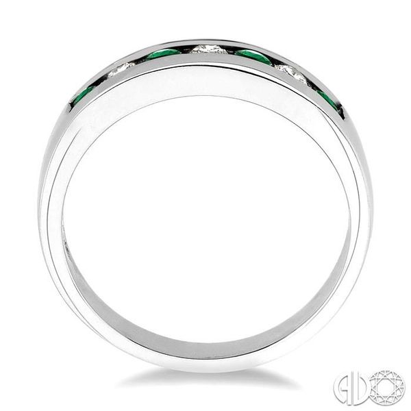 1/5 Ctw Channel Set Round Cut Diamond and 2.5 MM Round Cut Emerald Band in 14K White Gold Image 3 Robert Irwin Jewelers Memphis, TN