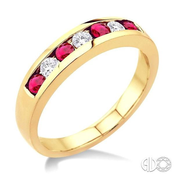 1/5 Ctw Channel Set Round Cut Diamond and 2.5 MM Round Cut Ruby Band in 14K Yellow Gold Robert Irwin Jewelers Memphis, TN