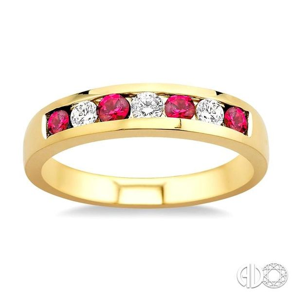 1/5 Ctw Channel Set Round Cut Diamond and 2.5 MM Round Cut Ruby Band in 14K Yellow Gold Image 2 Robert Irwin Jewelers Memphis, TN