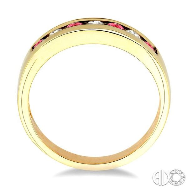 1/5 Ctw Channel Set Round Cut Diamond and 2.5 MM Round Cut Ruby Band in 14K Yellow Gold Image 3 Robert Irwin Jewelers Memphis, TN