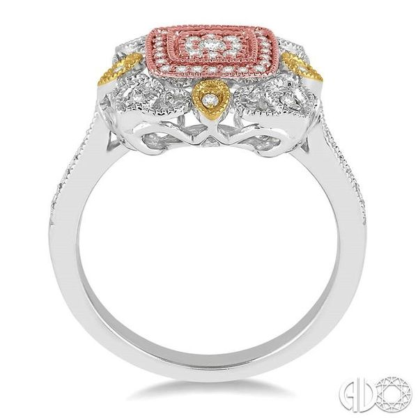 1/4 Ctw Square Shape Round Cut Diamond Ring in 14K Tri Color Gold Image 3 Robert Irwin Jewelers Memphis, TN