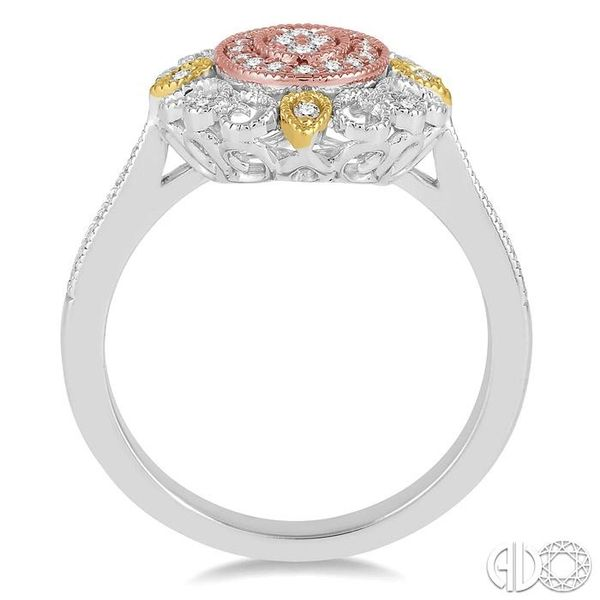 1/4 Ctw Oval Shape Round Cut Diamond Ring in 14K Tri Color Gold Image 3 Robert Irwin Jewelers Memphis, TN