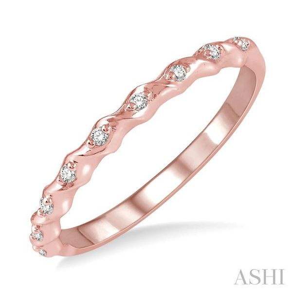 1/20 ctw Spiral Shank Round Cut Diamond Stackable Band in 14K Rose Gold Robert Irwin Jewelers Memphis, TN