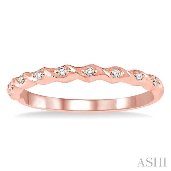 1/20 ctw Spiral Shank Round Cut Diamond Stackable Band in 14K Rose Gold Image 2 Robert Irwin Jewelers Memphis, TN