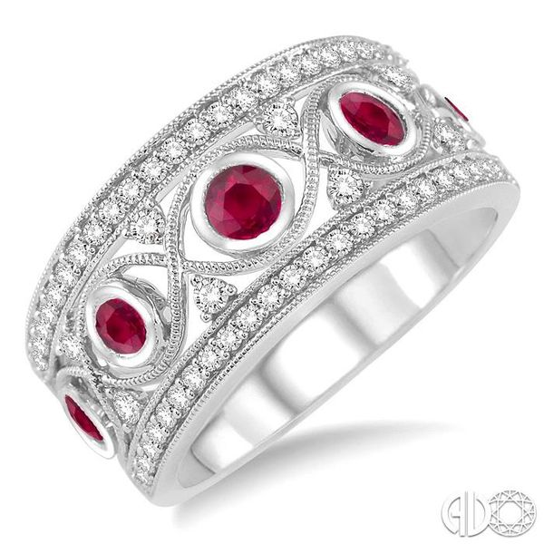2.6 mm Round Cut Ruby and 1/2 Ctw Round Cut Diamond Band in 14K White Gold Robert Irwin Jewelers Memphis, TN