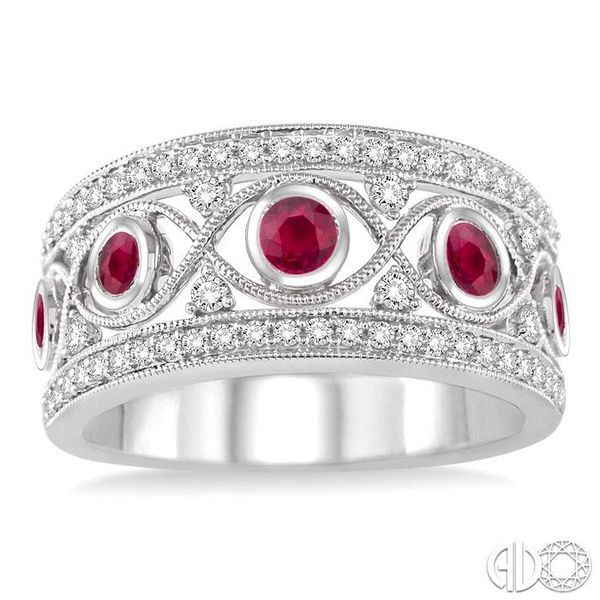 2.6 mm Round Cut Ruby and 1/2 Ctw Round Cut Diamond Band in 14K White Gold Image 2 Robert Irwin Jewelers Memphis, TN