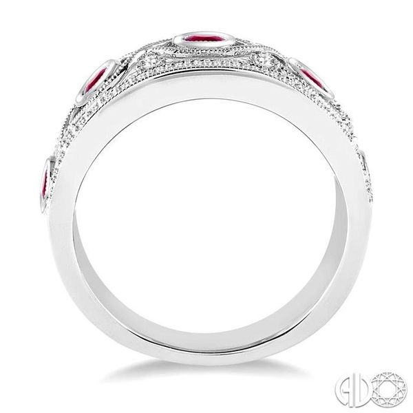 2.6 mm Round Cut Ruby and 1/2 Ctw Round Cut Diamond Band in 14K White Gold Image 3 Robert Irwin Jewelers Memphis, TN