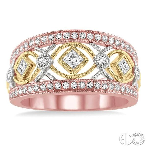 5/8 Ctw Diamond Fashion Ring in 14K Tri Color Gold Image 2 Robert Irwin Jewelers Memphis, TN