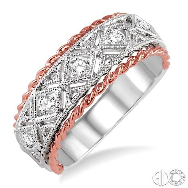 1/3 Ctw Round Cut Diamond Fashion Band in 14K White and Rose Gold Robert Irwin Jewelers Memphis, TN