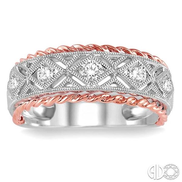 1/3 Ctw Round Cut Diamond Fashion Band in 14K White and Rose Gold Image 2 Robert Irwin Jewelers Memphis, TN