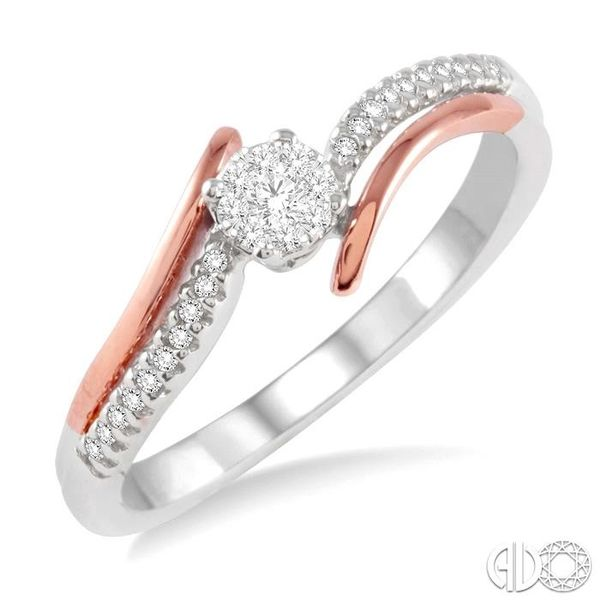 1/10 Ctw Lovebright Round Cut Diamond Ring in 14K White and Rose Gold Robert Irwin Jewelers Memphis, TN