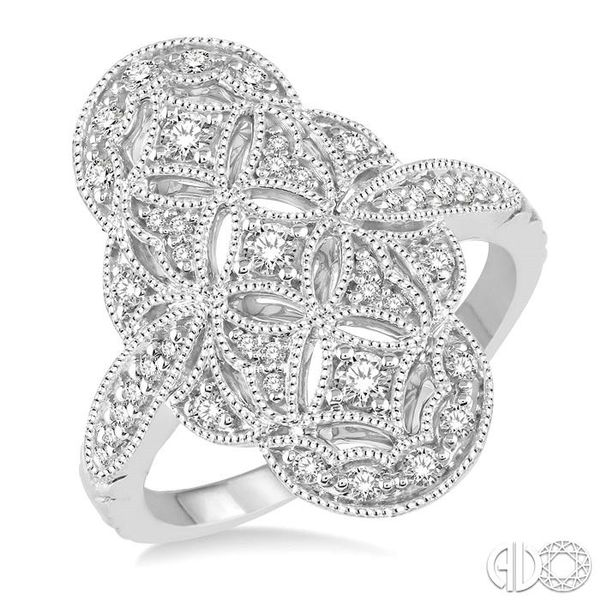 1/2 Ctw Floral Geometry Round Cut Diamond Ladies Ring in 14K White Gold Robert Irwin Jewelers Memphis, TN