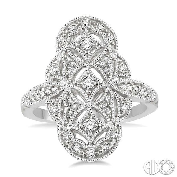 1/2 Ctw Floral Geometry Round Cut Diamond Ladies Ring in 14K White Gold Image 2 Robert Irwin Jewelers Memphis, TN