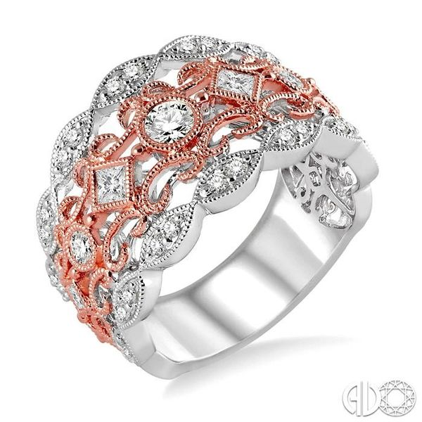 3/4 Ctw Round and Princess Cut Diamond Fashion Band in 14K White and Rose Gold Robert Irwin Jewelers Memphis, TN