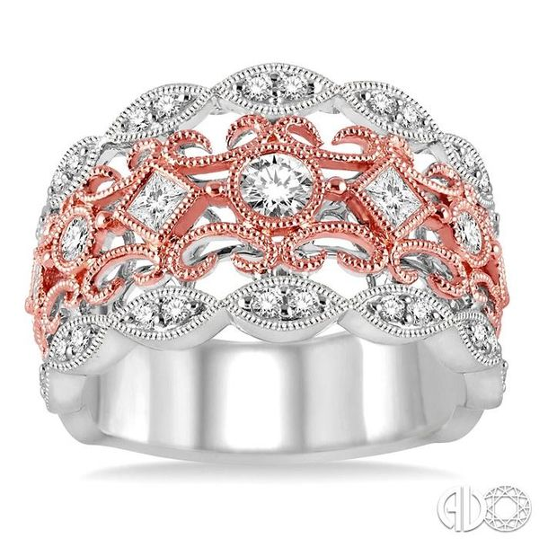 3/4 Ctw Round and Princess Cut Diamond Fashion Band in 14K White and Rose Gold Image 2 Robert Irwin Jewelers Memphis, TN