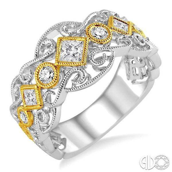 1/2 Ctw Round and Princess Cut Diamond Fashion Band in 14K White and Yellow Gold Robert Irwin Jewelers Memphis, TN