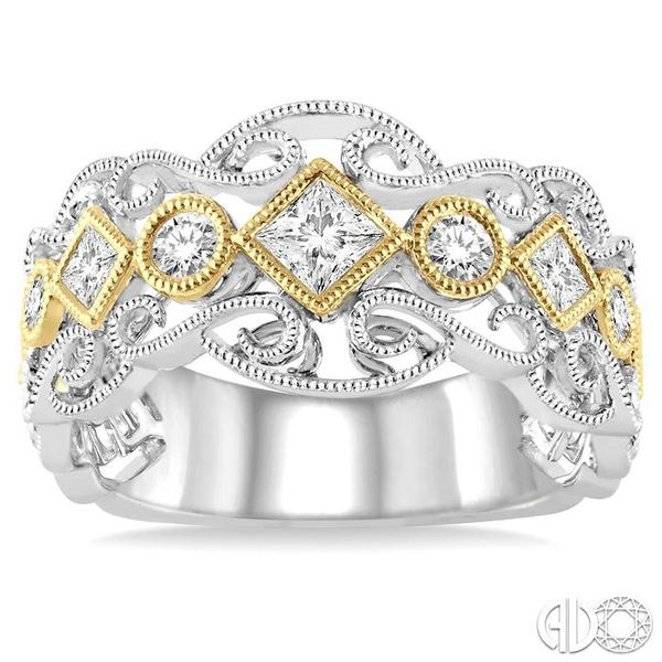 1/2 Ctw Round and Princess Cut Diamond Fashion Band in 14K White and Yellow Gold Image 2 Robert Irwin Jewelers Memphis, TN