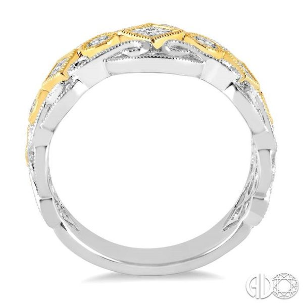 1/2 Ctw Round and Princess Cut Diamond Fashion Band in 14K White and Yellow Gold Image 3 Robert Irwin Jewelers Memphis, TN