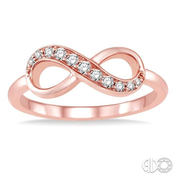1/6 Ctw Round Cut Diamond Infinity Ring in 10K Rose Gold Image 2 Robert Irwin Jewelers Memphis, TN