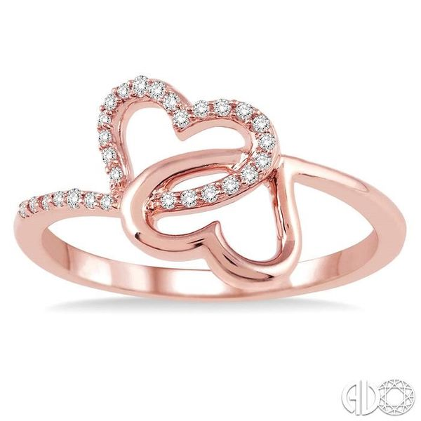 1/10 Ctw Round Cut Diamond Twins Heart Shape Ring in 14K Rose Gold Image 2 Robert Irwin Jewelers Memphis, TN