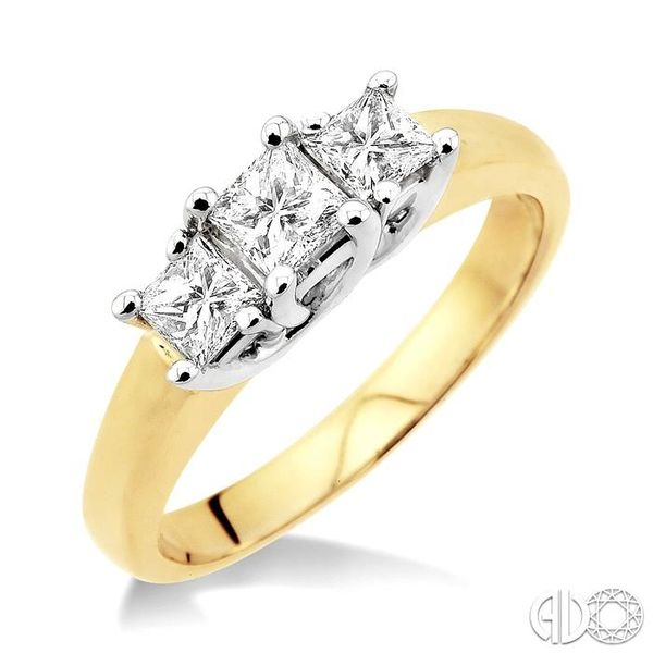 3/4 Ctw Three Stone Princess Cut Diamond Ring in 14K Yellow and White Gold Robert Irwin Jewelers Memphis, TN