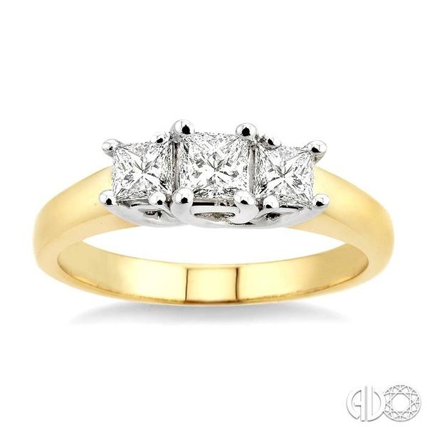 3/4 Ctw Three Stone Princess Cut Diamond Ring in 14K Yellow and White Gold Image 2 Robert Irwin Jewelers Memphis, TN