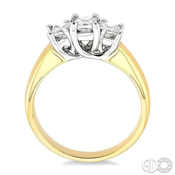 3/4 Ctw Three Stone Princess Cut Diamond Ring in 14K Yellow and White Gold Image 3 Robert Irwin Jewelers Memphis, TN