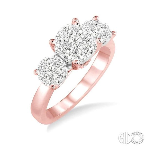 3/4 Ctw Lovebright Round Cut Diamond Ring in 14K Rose and White Gold Robert Irwin Jewelers Memphis, TN